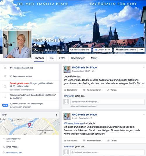 Screenshot facebookauftritt Dr. med. Daniela Pfaue